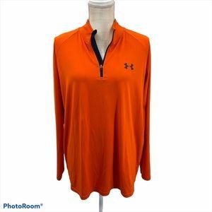 Under Armour Men Orange  1/4 Zip Up  Shirt Size L